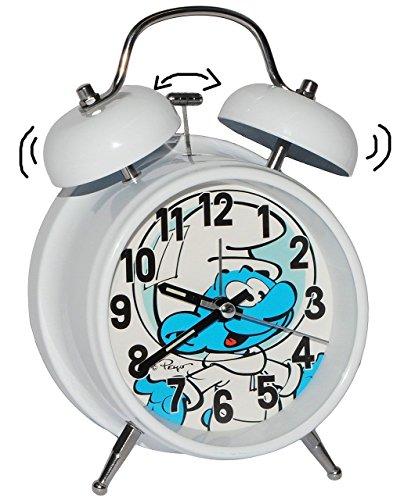 Wecker / Glockenwecker - ' die Schlümpfe ' - für Kinder großer Kinderwecker - Analog - Alarm...