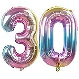 Ouinne Globo 30 Años, 32 Pulgadas Globo del Cumpleaños Número 30 Helio Globos para La Decoración Boda Aniversario (Rainbow)