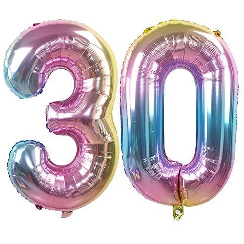 Ouinne Ballon Zahl 30, 32 Zoll Helium Folie Luftballon 30 Geburtstag Folienballon Geburtstag Dekoration Set Riesen Folienballon Fur Party (Regenbogen)