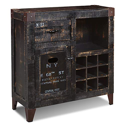 Sunset Trading Graphic Wine Cabinet, Distressed black and white