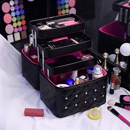 SJKSM Bolsa de Maquillaje Caja de cosmética Encantadora Mujeres Casas Capas Plegables Casas de Almacenamiento de Viaje Profesional Maleta de Gran Capacidad (Color : Black 4 Layers)
