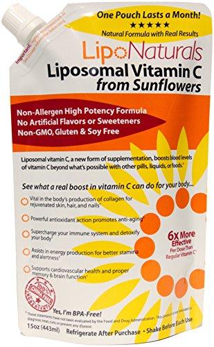 Lipo Naturals Liposomal Vitamin C | China-Free | No Artificial Preservatives | No Soy | 30 Doses (15 Ounces) | Non-GMO | Made in U.S.A | Maximum Encapsulated Vitamin C Bioavailability | Real Results