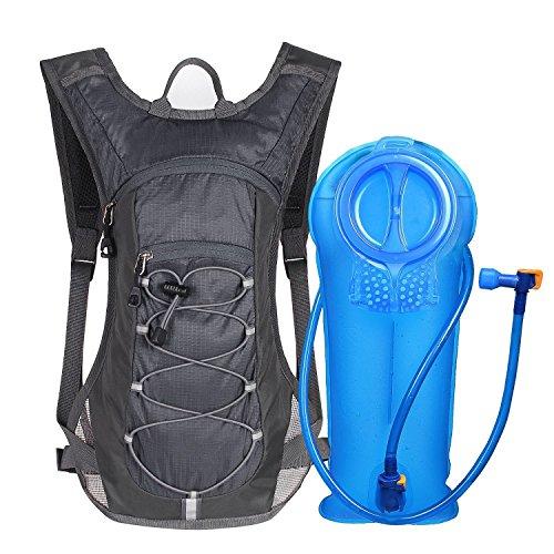 Unigear Trinkrucksack mit 2L Trinkblase Hydrationspack Fahrradrucksack für Joggen, Wandern, Radfahren, Camping und Bergsteig MEHRWEG (Grau)