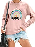 Mama Sweatshirt Women Mom Rainbow Graphic Tee Shirts Causal Long Sleeve Pullover Tops (Pink, Large)
