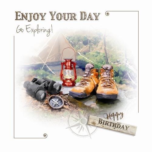 Ga verkennen Camping Verrekijker Laarzen Lantaarn Ontwerp Mannelijke Gelukkige Verjaardagskaart