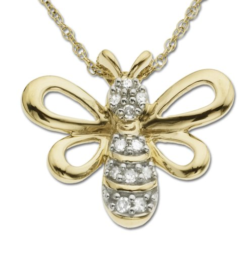 10k Yellow Gold Diamond Bee Pendant (.05 cttw, I-J Color, I2-I3 Clarity), 18