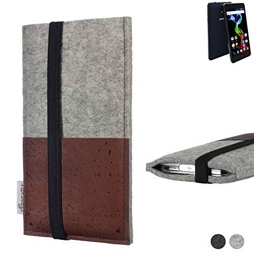 flat.design Handy Hülle Sintra für Archos 55b Platinum Handytasche Filz Tasche Schutz Kartenfach Case braun Kork