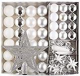 HEITMANN DECO Weihnachtsbaumschmuck, Kunststoff, Weiss/Silber, 50teilig