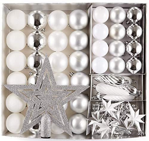 HEITMANN DECO Krebs & Sohn Set di 50 Palline di Natale - Albero di Natale Deco Appeso - Palle di Natale - Argento Bianco