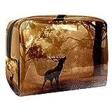 Bolsa de maquillaje portátil con cremallera, bolsa de aseo de viaje para mujeres, práctica bolsa de almacenamiento cosmético Elk Nature