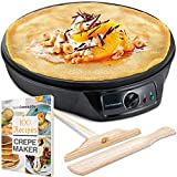 "Crepe Maker Machine (Lifetime Warranty), Pancake Griddle – Nonstick 12"" Electric Griddle – Pancake Maker, Batter Spreader, Wooden Spatula – Crepe Pan for Roti, Tortilla, Blintzes – Portable, Compact, Easy Clean"
