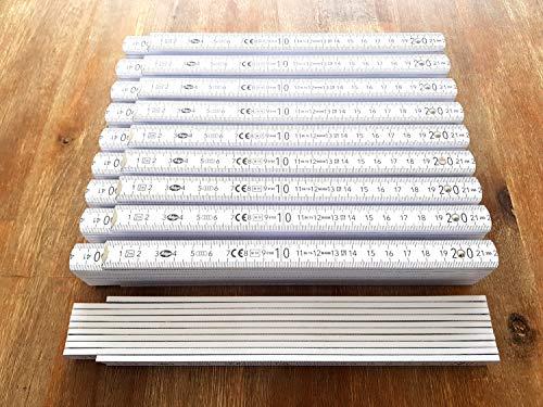 10 x ADGA Qualitäts Zollstöcke 2m mit Winkelanzeige Zollstock Meterstab Holz Germany