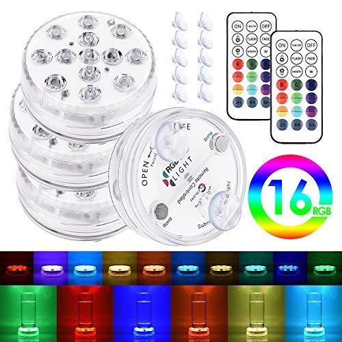 Magnetische wasserdichte LED-Tauchleuchten mit Saugnäpfen, Unterwasser-Whirlpool-Poolteich RGB-Licht mit Fernbedienung und Batteriebetrieb, Dekor für Badewanne, Dusche, Whirlpool, Spa, Party (4 Stück)