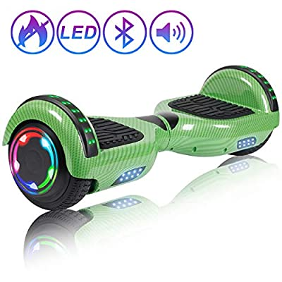 "Hoverboard Self Balancing Scooter 6.5"" Two-Wheel Self Balancing Hoverboard with Bluetooth Speaker and LED Lights Electric Scooter for Adult Kids Gift UL 2272 Certified Fun Edition - Carbon Green"