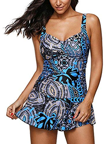 Century Star Women's One Piece Swimdress Tummy Control Swim Dress Cover Up Slimming Skirt Swimsuits Floral Blue/1pc Small (fits Like US 4-6)