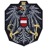 Österreich Aufnäher Österreichischer Adler Aufbügler Austria Wappen Patch Eagle Biker Sticker Rocker Fahne Austria-Fan DIY Applikation Jeans-Weste/Hut/Shirt/Jacke 75x90mm