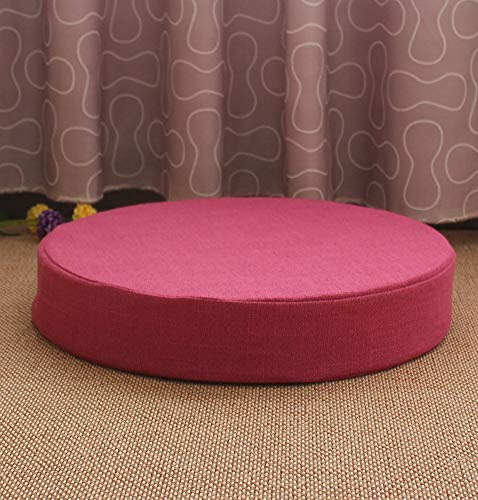 DULPLAY Cotton Linen Seat Cushion,Thick Round Tatami Bay Window Mat,Meditation Cushion Washable For Dining Chair Home Rose Red 50x50x10cm(20x20x4inch)