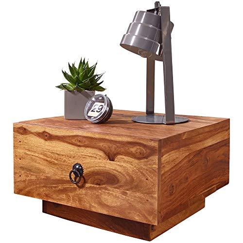 FineBuy Design Nachttisch Sheesham Massiv-Holz 40x40x25 cm | Moderne Nacht-Kommode mit Schublade | Nachtschrank Natur-Holz Nachtkonsole