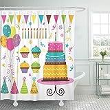 N\A Duschvorhang Kuchen Bunte Party Geburtstag Feier Hut Hut Kerze Luftballons Box Duschvorhänge Sets mit 12 Haken Wasserdichter Polyester Stoff