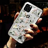Shinymore iPhone 11 Floral Case Girls Women Sparkle Glitter Pressed Dry Real Flower Cover Flexible Soft Rubber Crystal Clear Case for iPhone 11(Flower -Clear Case)