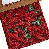 Ksnnrsng Flores Rosas Artificiales Espuma Rosa Falsa para Manualidades, Ramos de Novia, centros de Mesa, Despedidas de Soltera y Decoración del Hogar (25 Piezas, Vino Rojo)