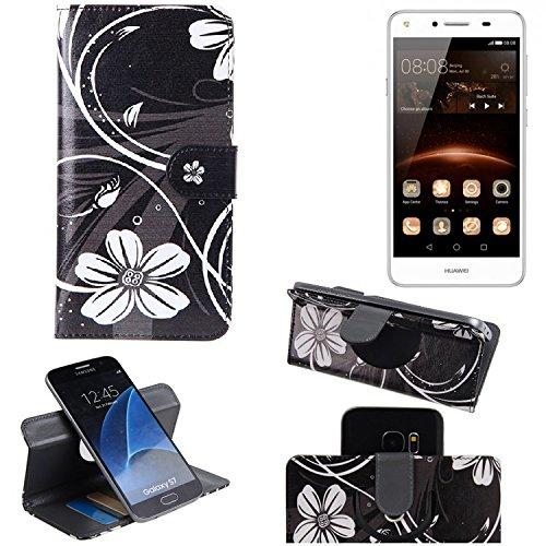 K-S-Trade® Schutzhülle Für Huawei Y5 II Dual-SIM Hülle 360° Wallet Case Schutz Hülle ''Flowers'' Smartphone Flip Cover Flipstyle Tasche Handyhülle Schwarz-weiß 1x