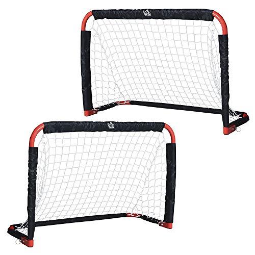 HOMCOM Set de 2 Mini Cages de Football Pliables avec Filet - dim. 90L x 36l x 60H cm - métal époxy Rouge Oxford Noir