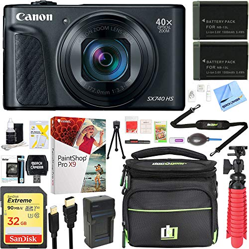 Canon PowerShot SX740 HS 20.3MP 40x Optical Zoom Digital Camera with 4K Video - Black (2955C001) + Two-Pack NB-13L Spare Batteries + Accessory Bundle