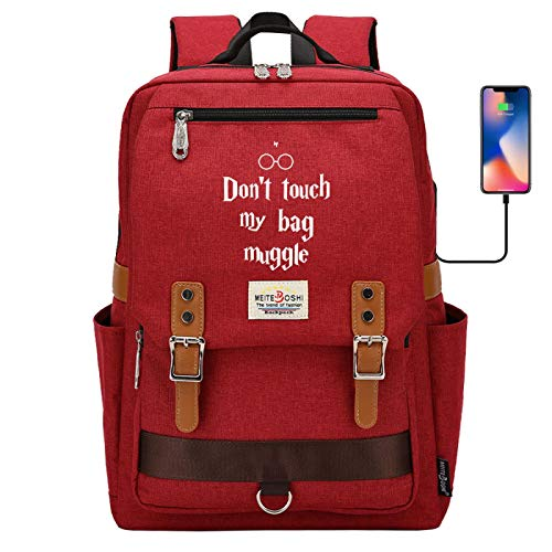 DDDWWW Lightweight Waterproof Canvas Rucksack Kids Backpack Don't Touch My Bag, Muggle Large red