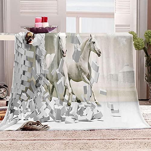 ZSDWGL Manta Sofa Grande Invierno Manta Cama de Franela Extra Suave Mantas Cubre Sofas 135 x 200 cm Animal Caballo Creativo