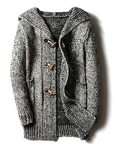 chouyatou Men's Chunky Toggle Button Mid-Length Knitted Cardigan Sweater Attached Hood (Large, Grey)