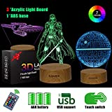 SJIAHEE 3D Star Wars Night Light - 16 Color Change Decor Lamp with Remote & Smart Touch, Christmas and Birthday Gifts for Star Wars Fans, Star Wars Toys for Kids