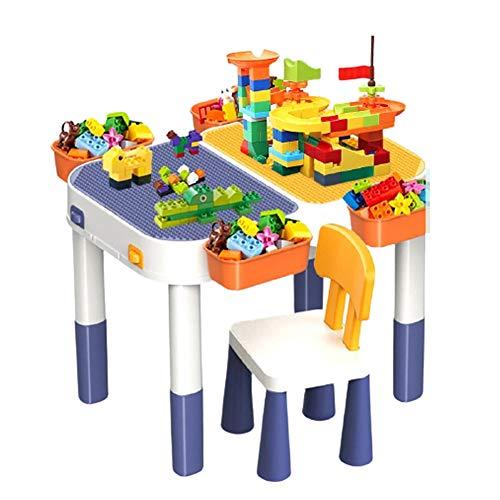 Mesa de construcción multifuncional para bricolaje para niños, mesa de construcción de juegos para niños 6 en 1 con caja de almacenamiento junto a la mesa, se puede aumentar la altura del escritorio