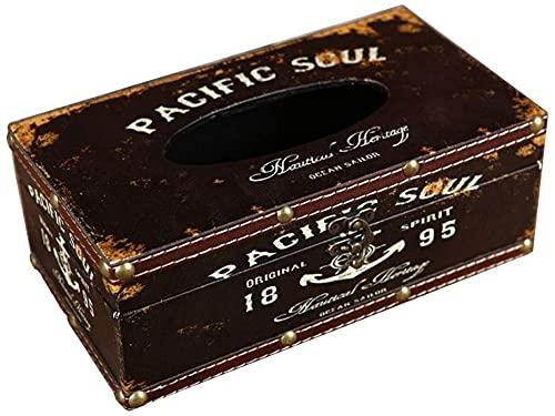 Tenedor de Caja de pañuelos Retro Caja de Tejido de Coche Creativo, Caja de Almacenamiento de Madera de Cocina, Caja de la Caja de la servilleta Americana, 25.5 × 14.3 × 9.5cm (Color : B)