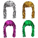 Sumind 4 Pieces Foil Tinsel Wigs Fancy Dress Shiny Party Wig Metallic Costume Cosplay Supplies (Gold, Silver, Green and Pink)