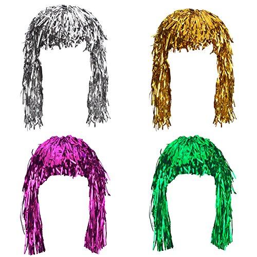 Sumind 4 Piezas de Peluca de Tilde de Hoja Peluca de Fiesta Brillante de Disfraces para Cosplay Halloween (Dorado, Plateado, Verde y Rosa)