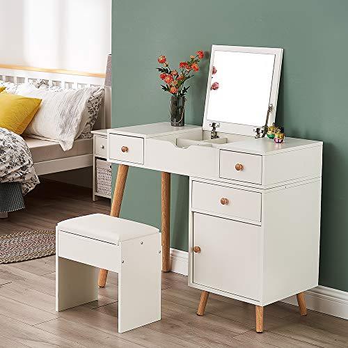 Storeinuk Juego de tocador blanco con espejo abatible y taburete, escritorio moderno de maquillaje para niñas y mujeres