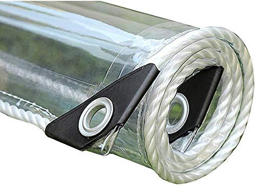 Telone Trasparente in Plastica 0.35mm Telo Impermeabile PVC Tenda di Protezione con Occhielli e Teloni,Copertura per Esterni,Piante,Resistente alle Intemperie,Pieghevole,400g/m²(1.4x1.8m/3.6x5.9ft)