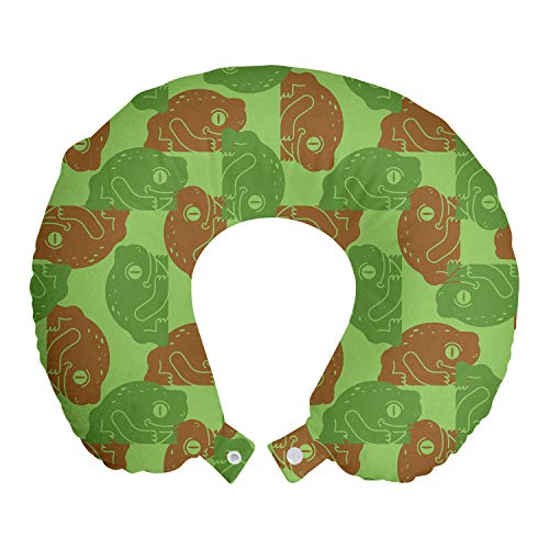 ABAKUHAUS Animal Cojín de Viaje para Soporte de Cuello, Rítmica del Arte Abstracto de Las Ranas, Cómoda y Práctica Funda Removible Lavable, 30x30 cm, Caramelo Verde del Helecho