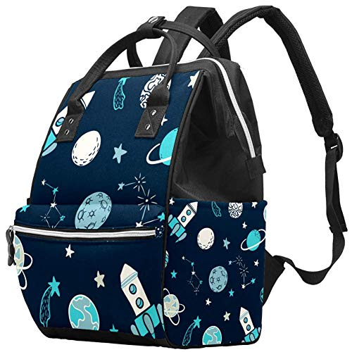 Grand sac à langer multifonction pour bébé - Sac à dos de voyage - Pour maman et papa, Space Rocket Star Planet