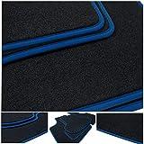 teileplus24 NL-204 Alfombrillas para BMW i3 I01 Alfombrillas para Coche de Primera Calidad 2 Piezas Nubuck Costura Decorativa, Bordes:Azul