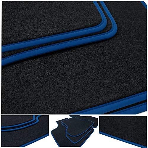 teileplus24 NL-204 Fußmatten für BMW i3 I01 Premium Automatten 2-teilig Nubuk, Bandeinfassung:Blau