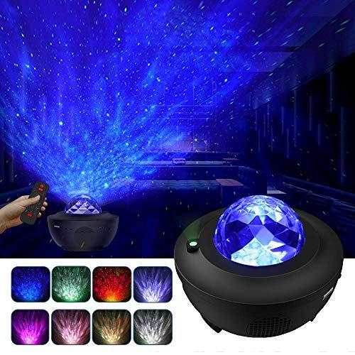 LBell LED Projektor Sternenhimmel Lampe mit Fernbedienung Starry Stern Mond/Wasserwellen-Welleneffekt/Bluetooth Lautsprecher Perfekt für Party Weihnachten Ostern Halloween