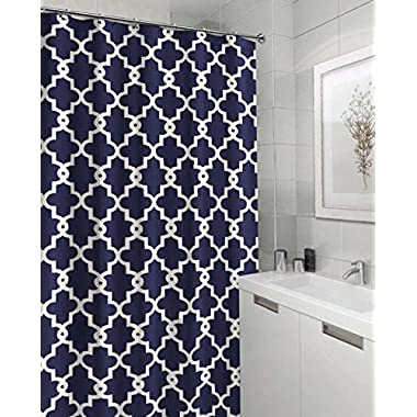 Geometric Patterned Shower Curtain 70-inch By 72-inch - Navy