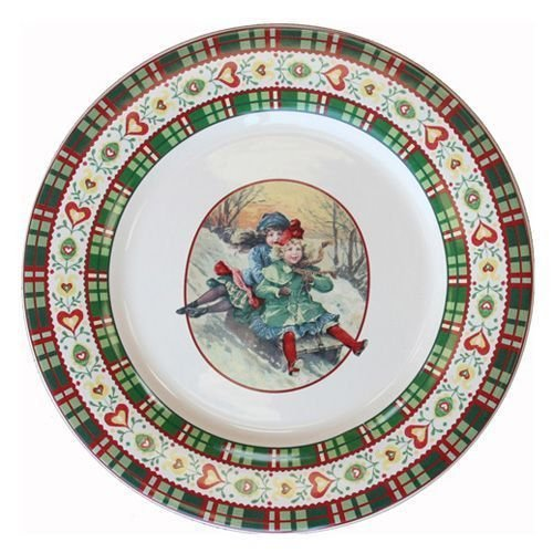 Faïencerie de Niderviller ~ Assiette Plate Ronde Saint Petersbourg faïence - Lot de 4