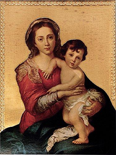 Ferrari & Arrighetti Cuadro Virgen del Rosario de Murillo Estampa sobre Madera - 28 x 21 cm