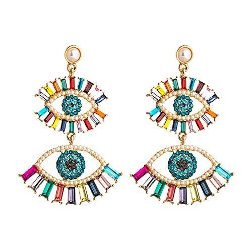 Bunte Hohle Türkische Augentropfen Ohrringe Gold Farbe Legierung Lange Baumeln Ohrringe Modeschmuck Für Frauen Mädchen