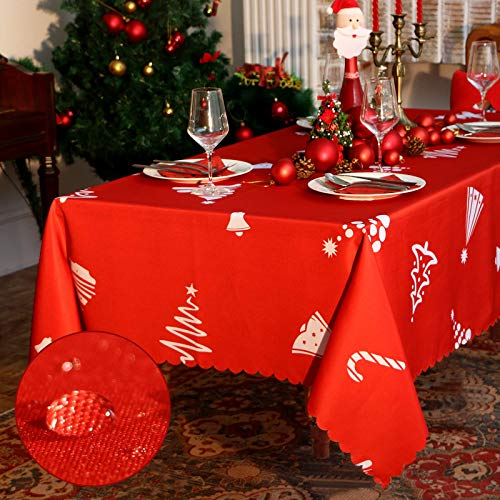 Christmas Rectangle Table Cloth - 60x84 inch Water Proof Holiday Decorative Printed Fabric Tablecloth Cover for Kitchen Outdoor and Indoor Use