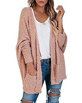 Ybenlow Womens Open Front Fuzzy Cardigan Sweaters Batwing Sleeve Lightweight Popcorn Loose Knit Sweater Cloak Tops Pink