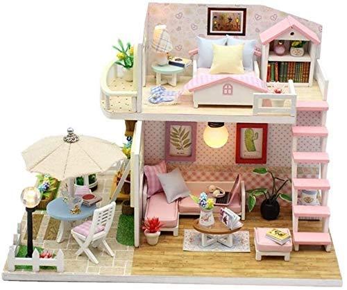 HYDDG - Kit de muebles de madera para casa de muñecas, casa de princesas y casitas de madera, diseño de pabellón de Zinfandel hecho a mano para casa pequeña cubierta de polvo y caja de música